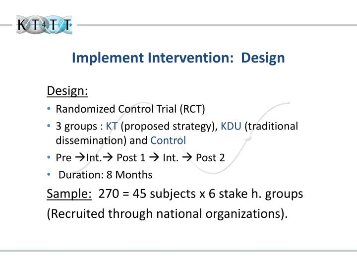 Implement Intervention:  Design