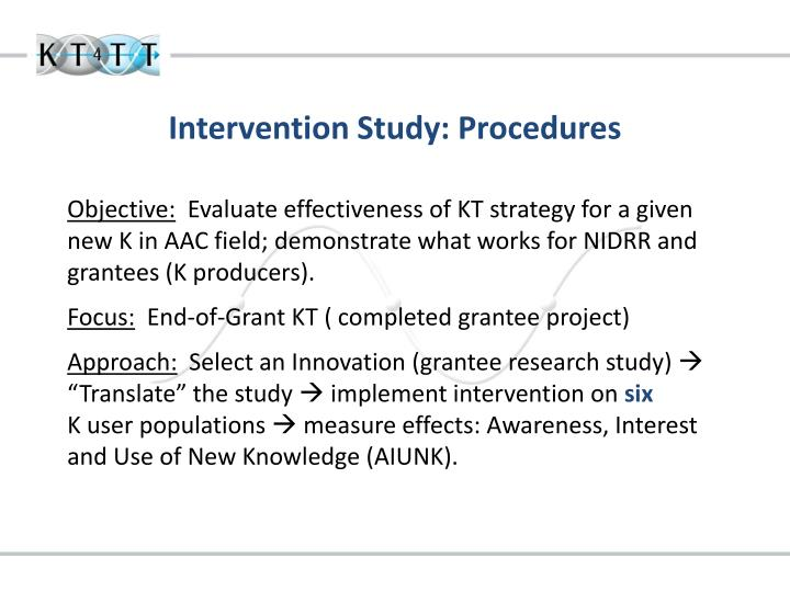Intervention Study: Procedures
