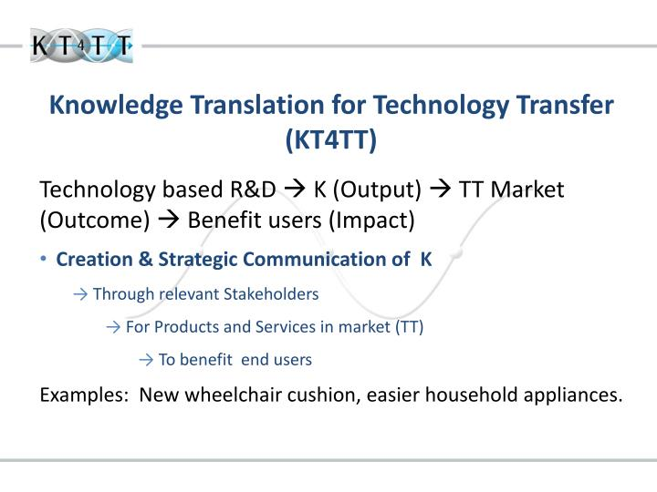 Knowledge translation for technology transfer kt4tt