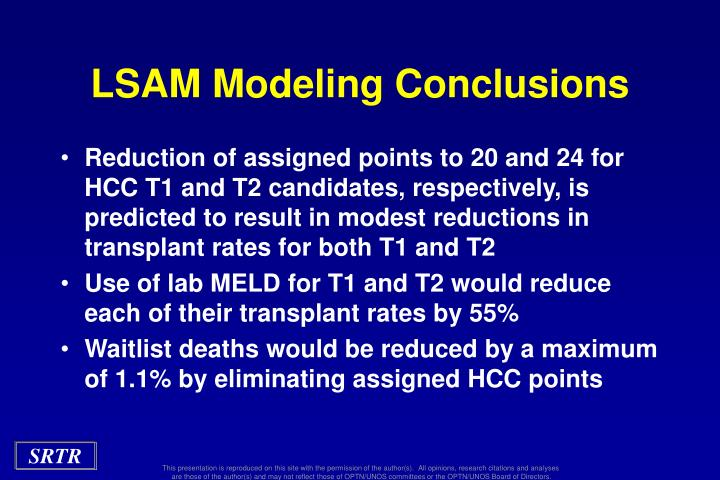LSAM Modeling Conclusions