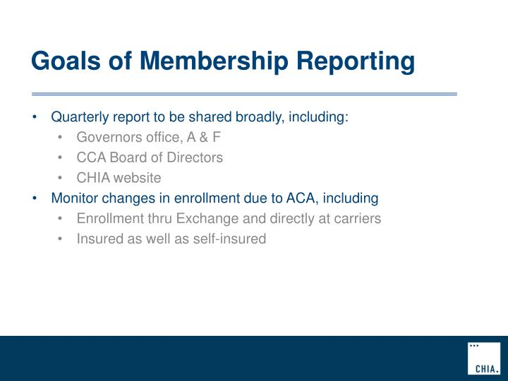 Goals of Membership Reporting