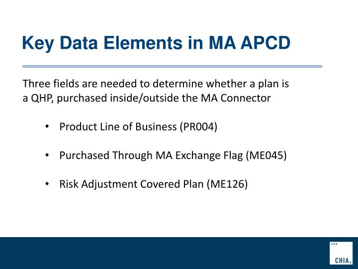 Key Data Elements in MA APCD