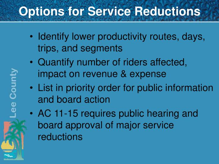 Options for Service Reductions