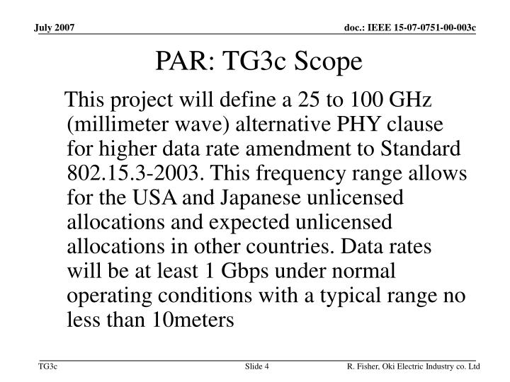 PAR: TG3c Scope