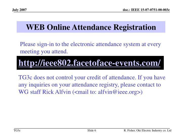 WEB Online Attendance Registration