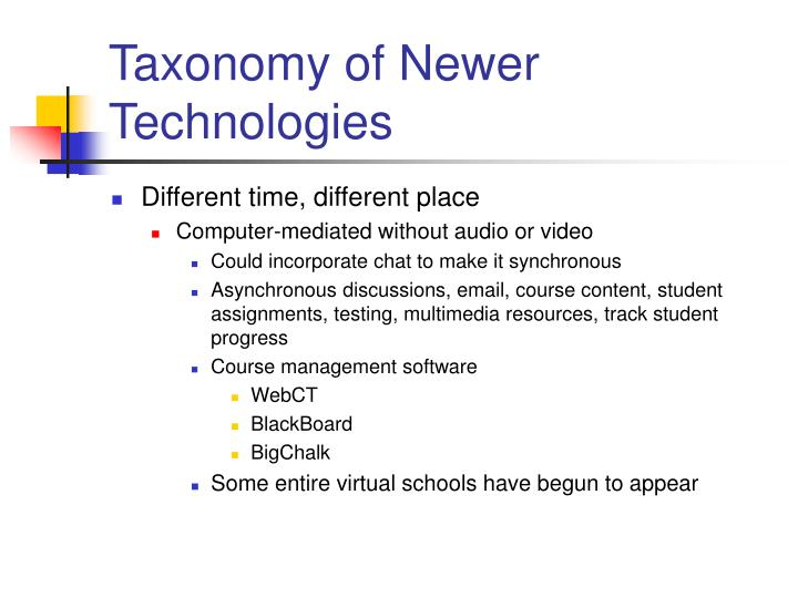 Taxonomy of Newer Technologies