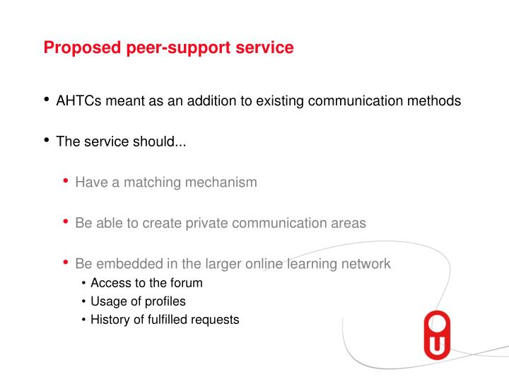 Proposed peer-support service