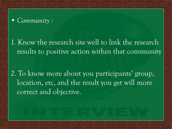Community :