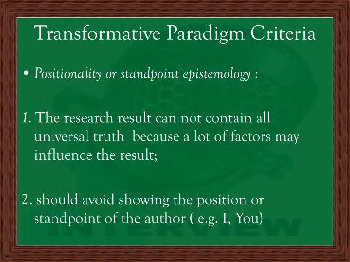 Transformative Paradigm Criteria