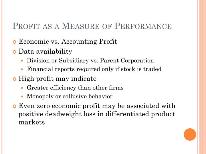 Profit as a Measure of Performance