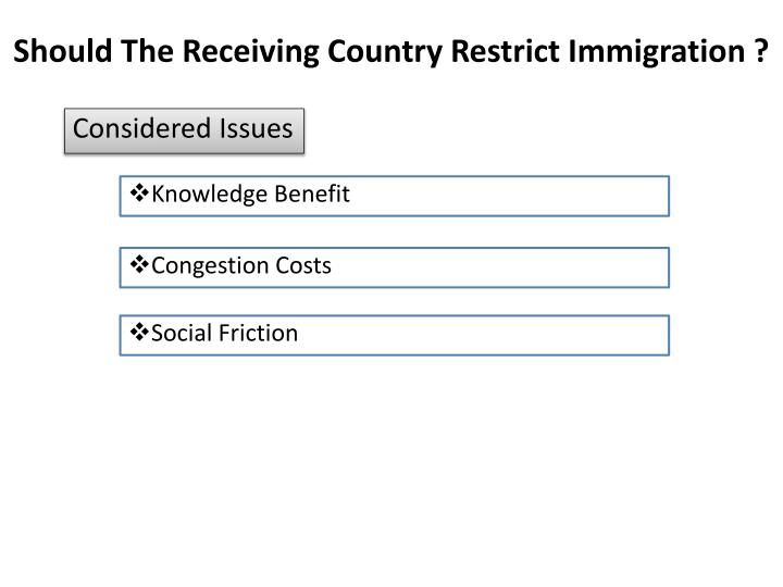 Should The Receiving Country Restrict Immigration ?