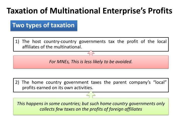Taxation of Multinational Enterprise's Profits