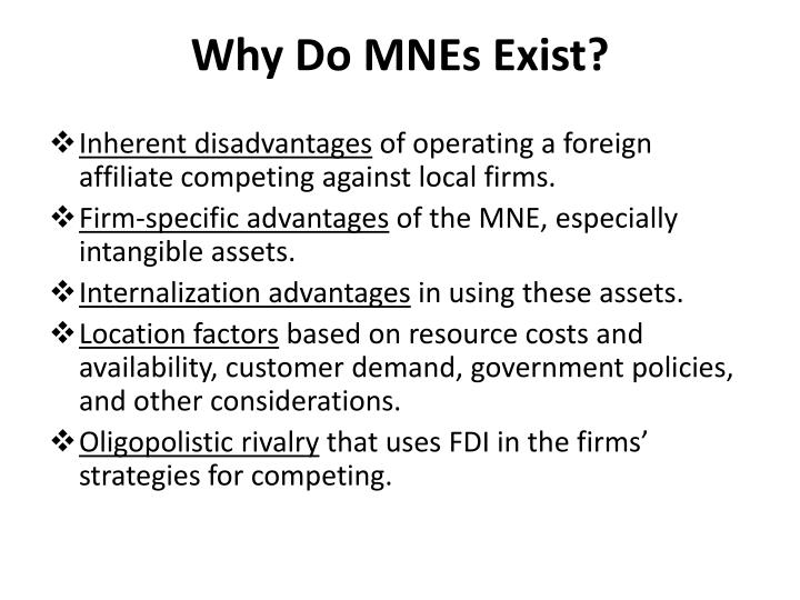 Why Do MNEs Exist?