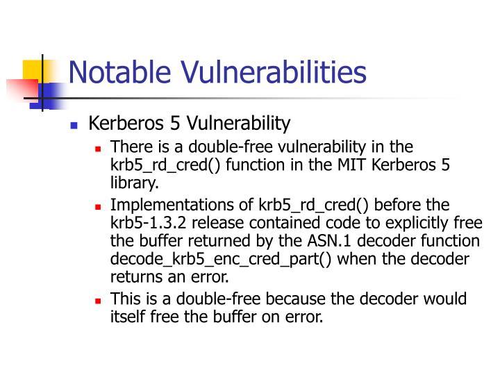 Notable Vulnerabilities
