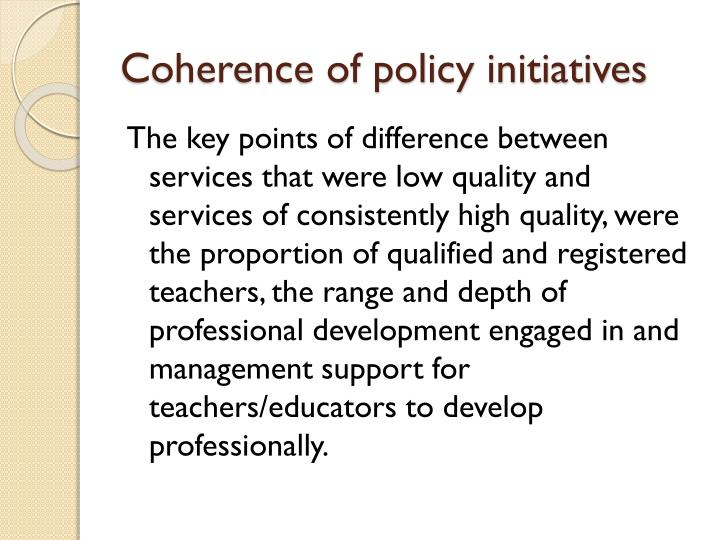 Coherence of policy initiatives