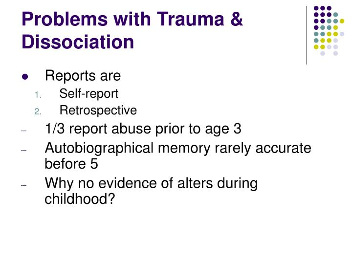 Problems with Trauma & Dissociation