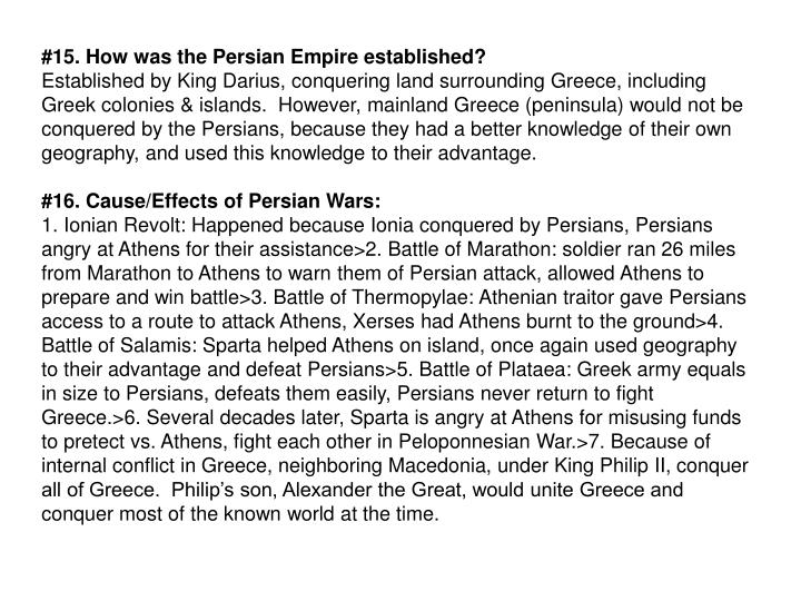 #15. How was the Persian Empire established?