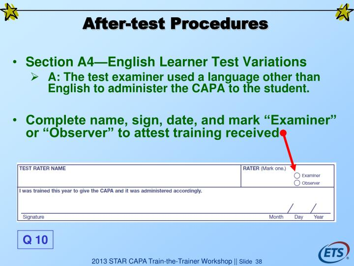 After-test Procedures