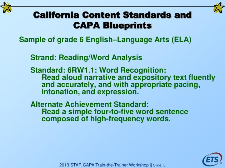 California Content Standards and CAPA Blueprints