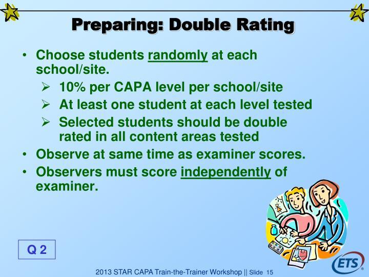 Preparing: Double Rating