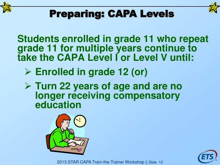 Students enrolled in grade 11 who repeat grade 11 for multiple years continue to take the CAPA Level I or Level V until: