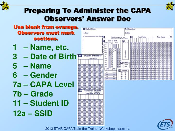 Preparing To Administer the CAPA