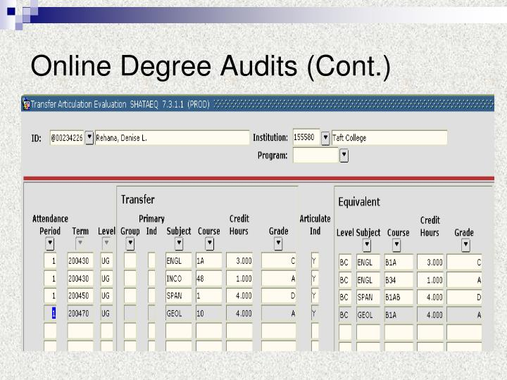 Online Degree Audits (Cont.)
