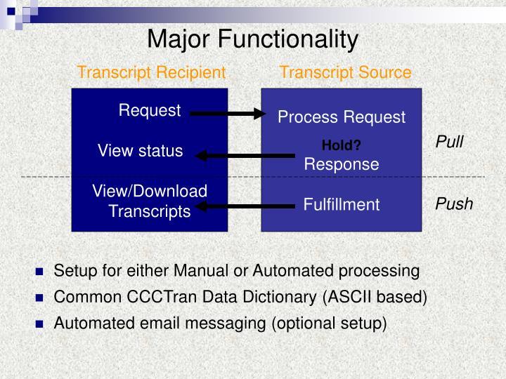 Major Functionality