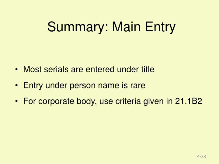 Summary: Main Entry