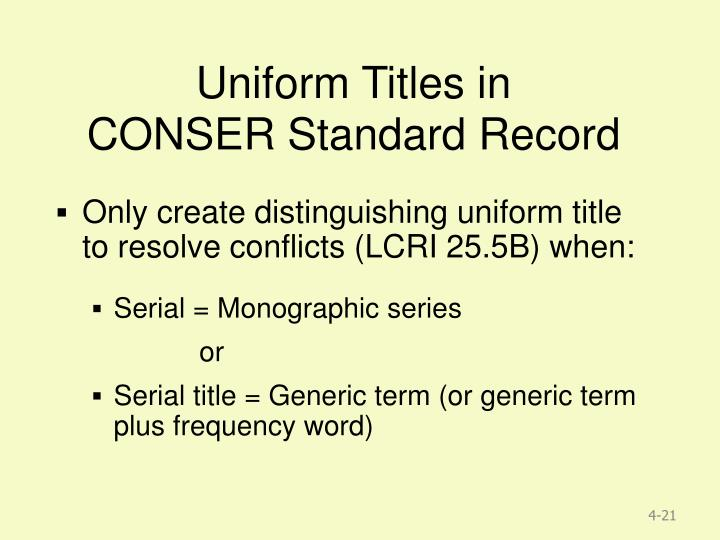 Uniform Titles in