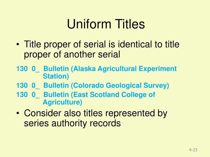 Uniform Titles