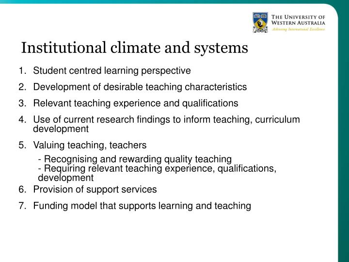Institutional climate and systems