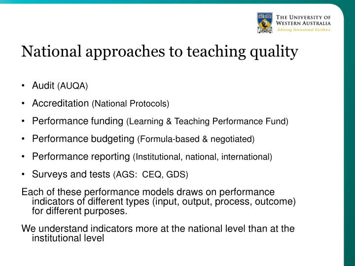 National approaches to teaching quality
