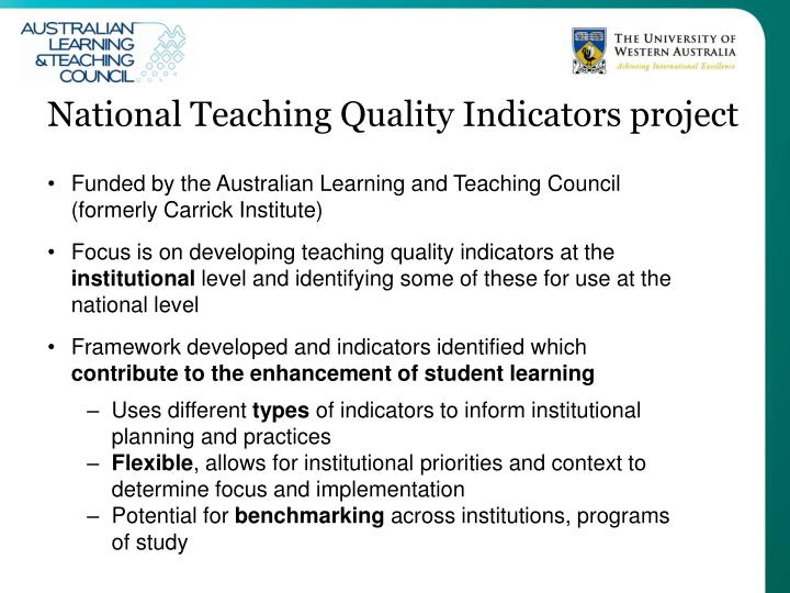 National Teaching Quality Indicators project