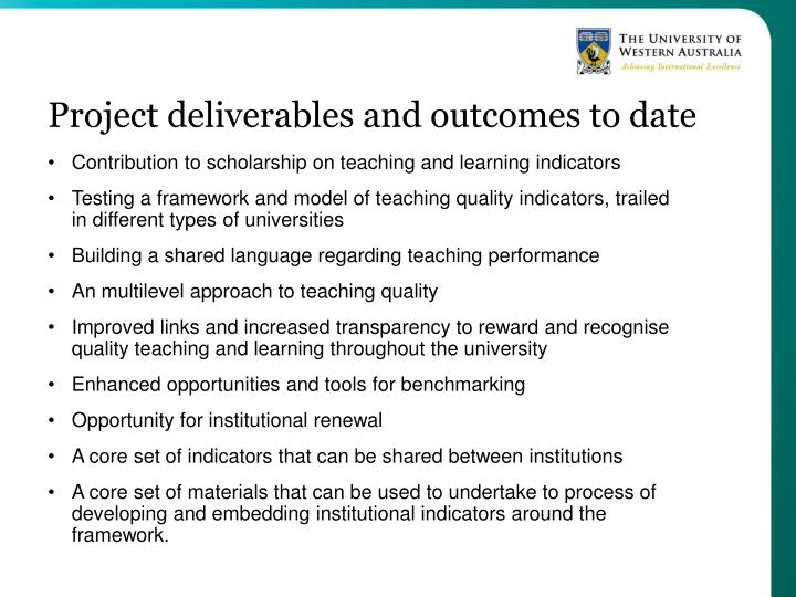 Project deliverables and outcomes to date