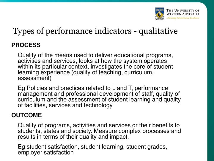 Types of performance indicators - qualitative