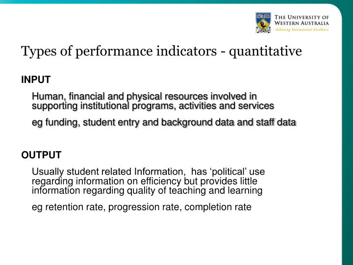 Types of performance indicators quantitative
