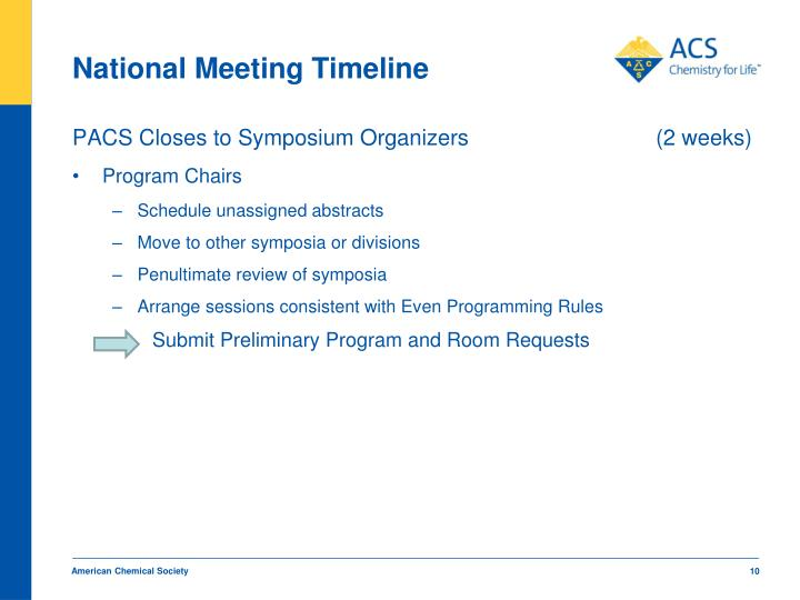 National Meeting Timeline