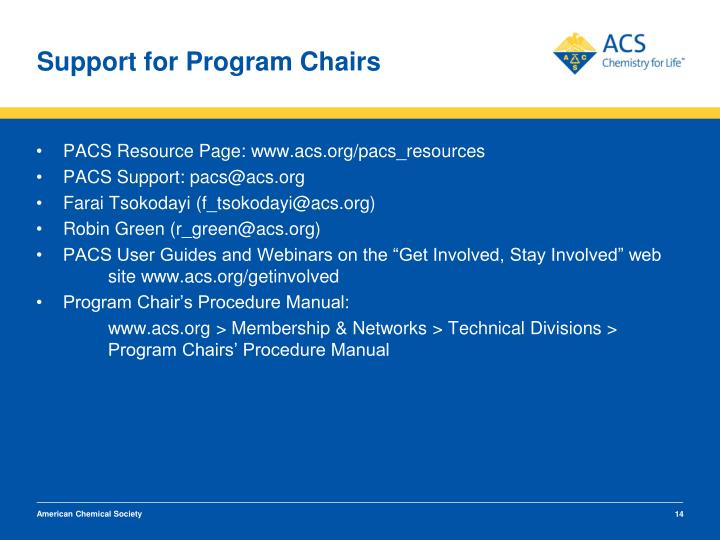 Support for Program Chairs