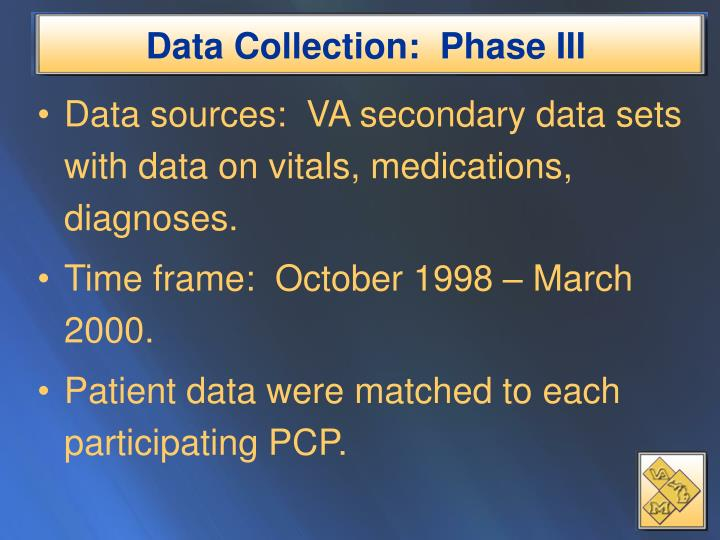 Data Collection:  Phase III