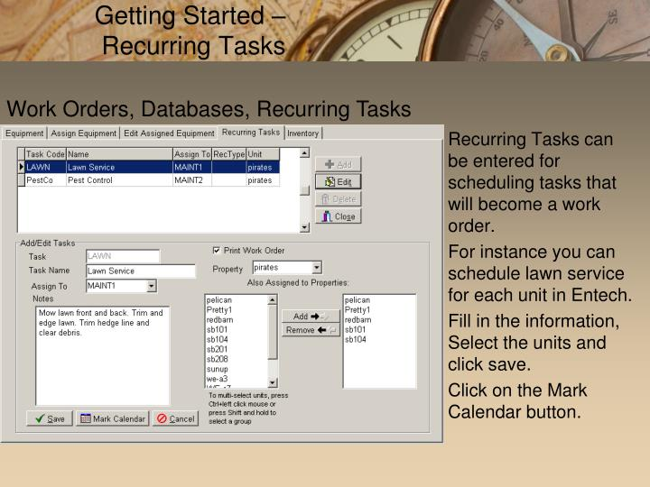 Getting Started – Recurring Tasks