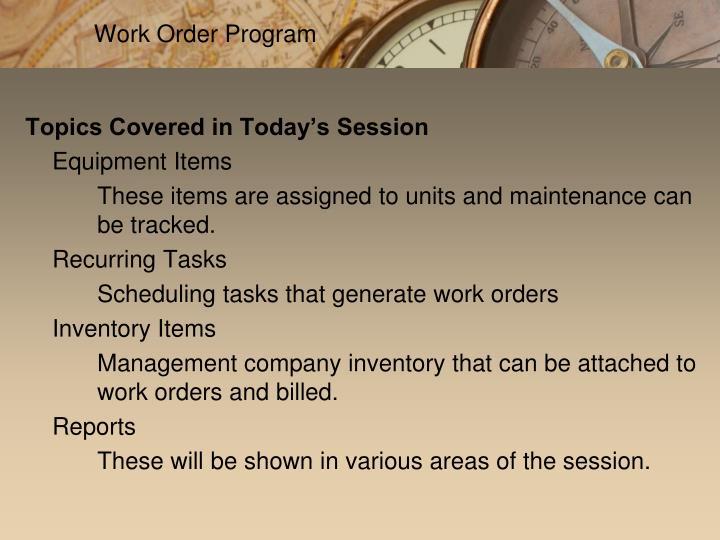 Work Order Program