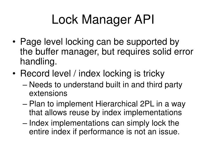 Lock Manager API