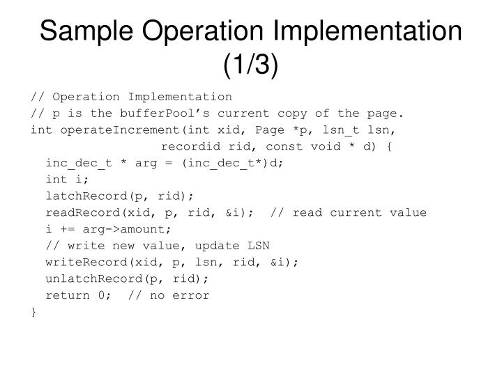 Sample Operation Implementation (1/3)