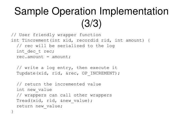 Sample Operation Implementation (3/3)
