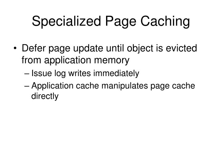 Specialized Page Caching