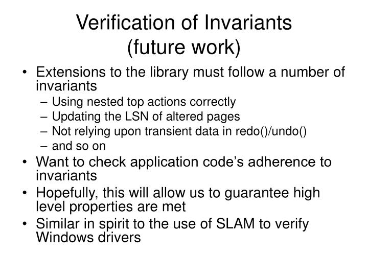 Verification of Invariants