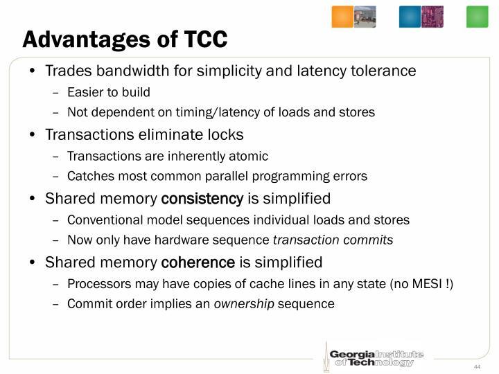 Advantages of TCC