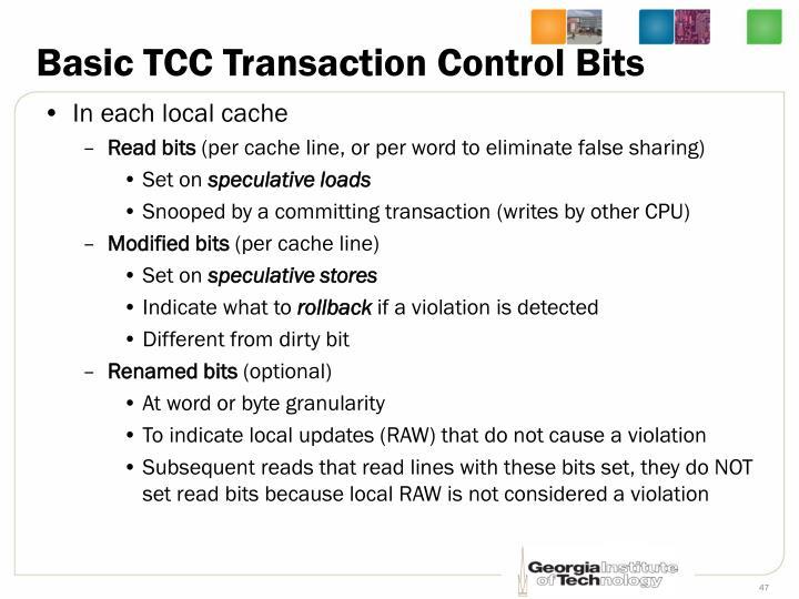 Basic TCC Transaction Control Bits