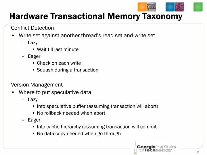 Hardware Transactional Memory Taxonomy